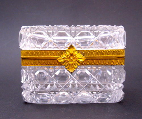 Small Antique French Cut Crystal Glass Box