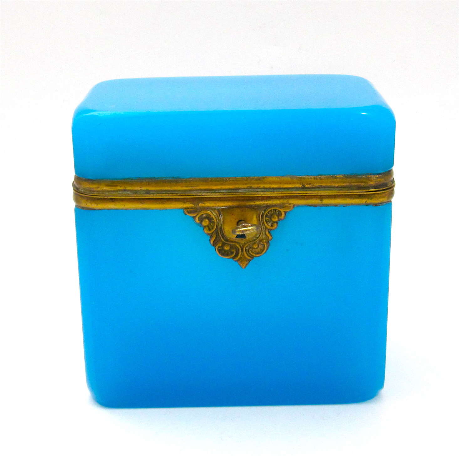 Antique French Blue Opaline Glass Casket Box