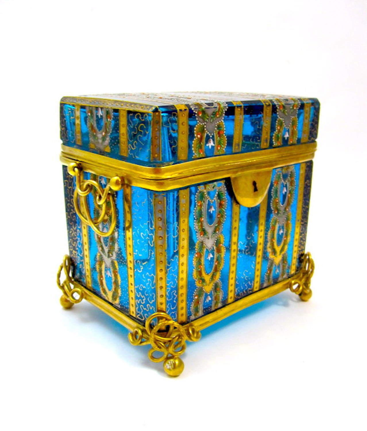 Antique Moser Turquoise Glass Casket Box