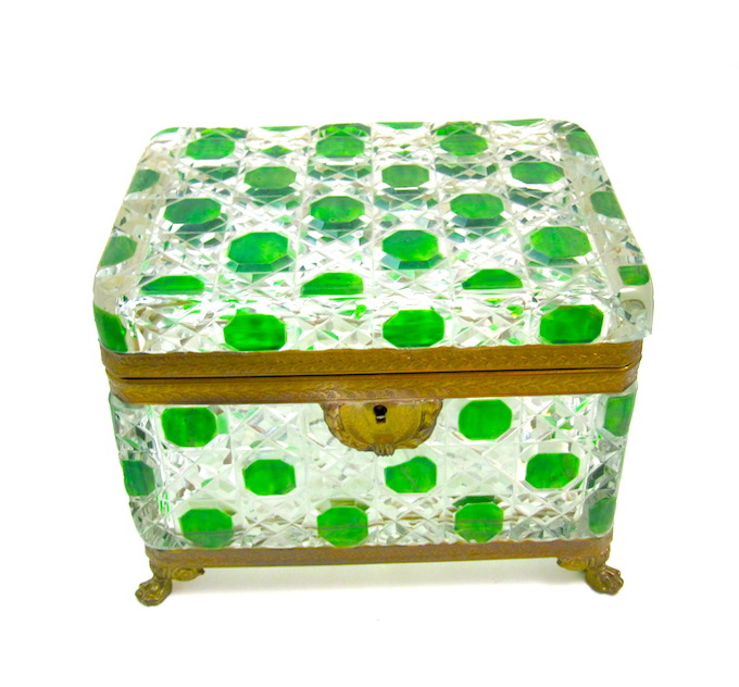 Large Antique BACCARAT Green and Clear Crystal casket
