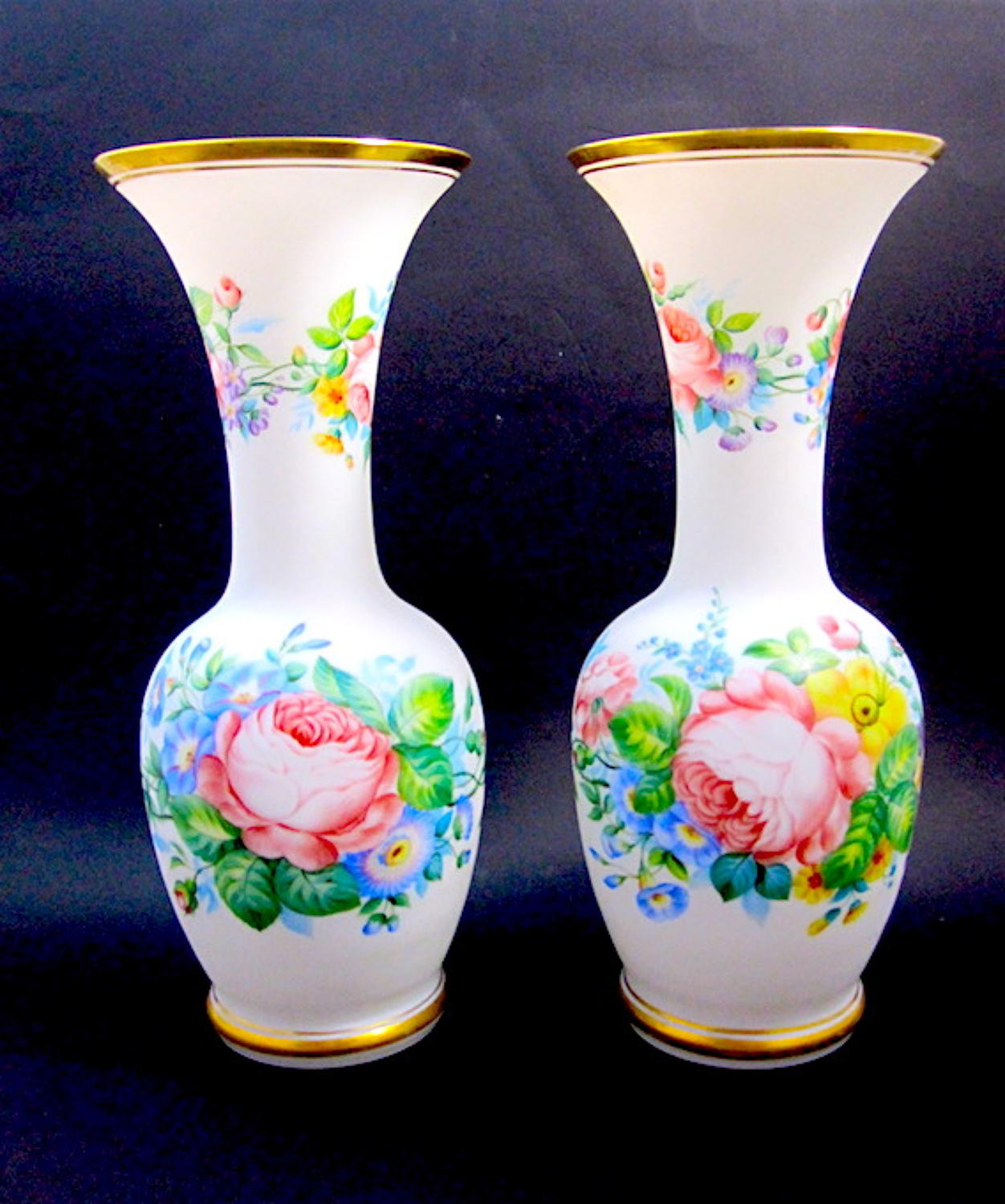 Pair of Antique French Opaline Flower Vases