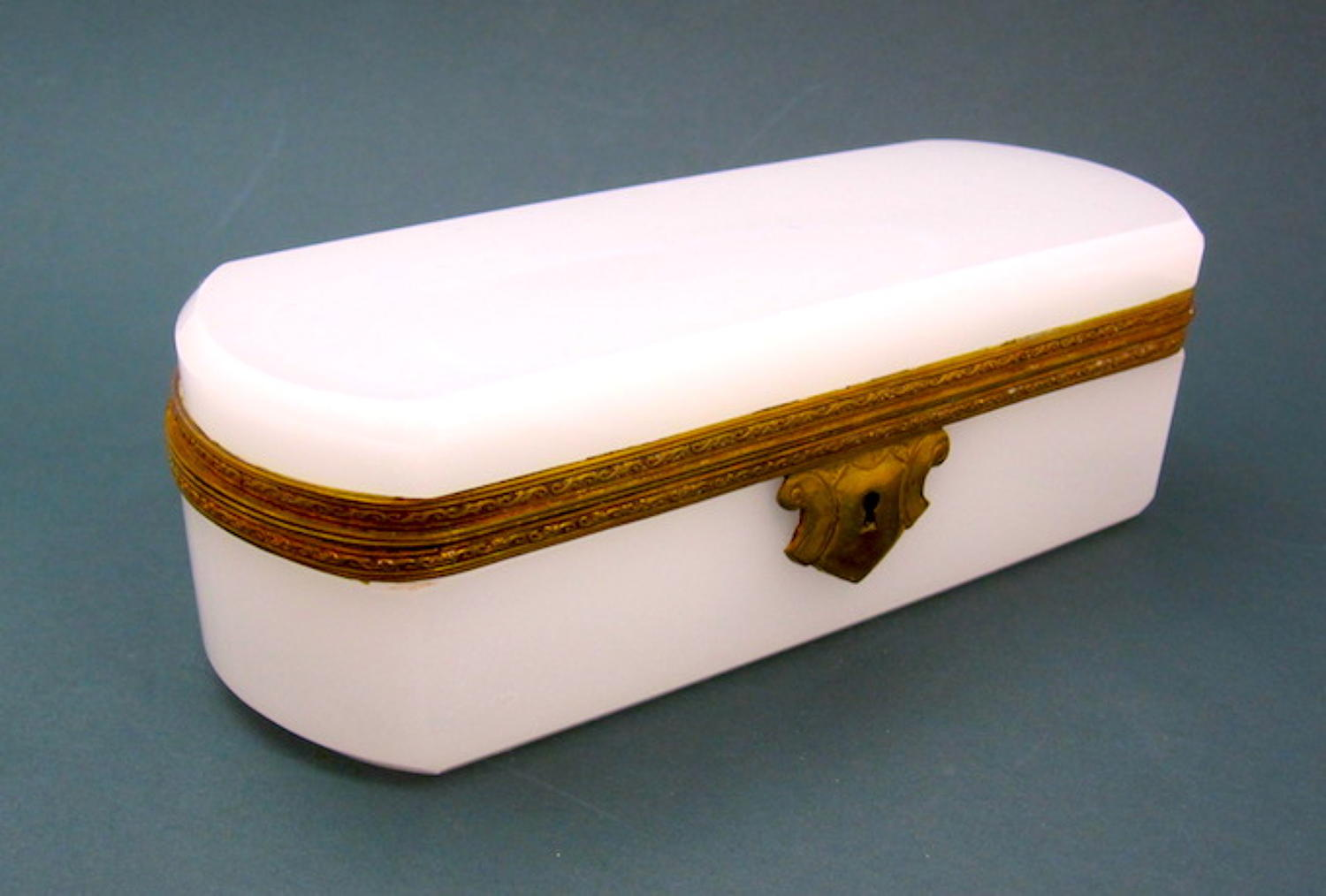 Antique French White Opaline Glass Casket Box
