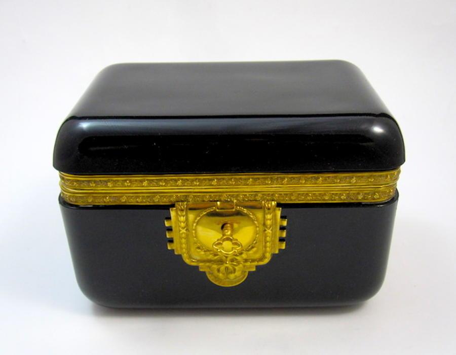 Antique French Black Opaline Glass Casket Box