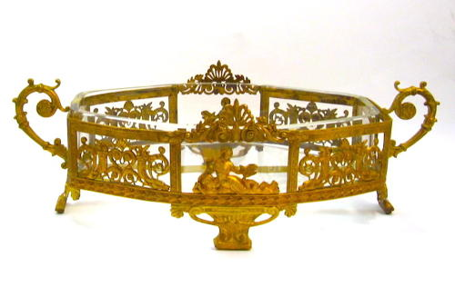 Antique French Bronze and Crystal Jardiniere