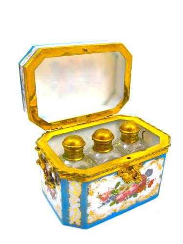 Amazing Rare Blue Opaline BACCARAT Perfume Casket & Key