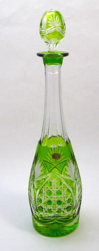 Val St Lambert Hobnail Cut Decanter with Original Label