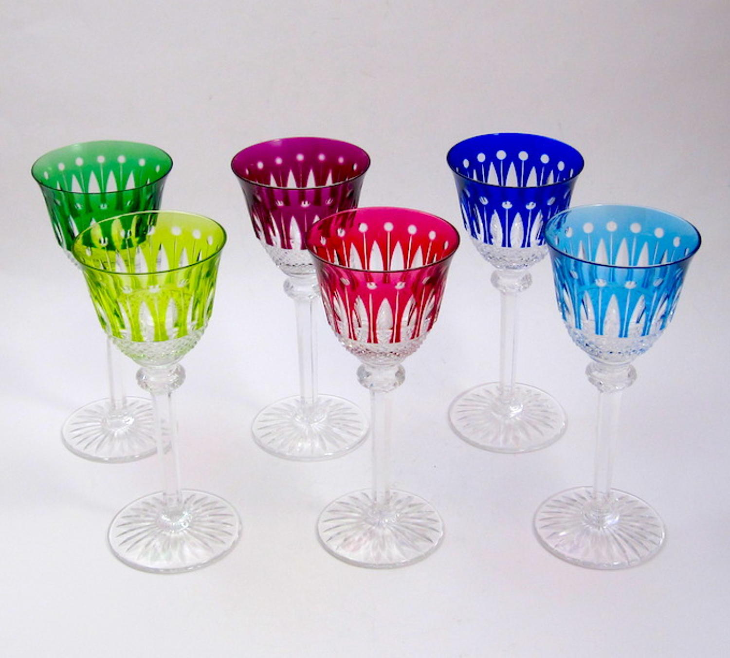 6 Vintage Cut Crystal St Louis 'Tommy' Glasses 20cms (7.9