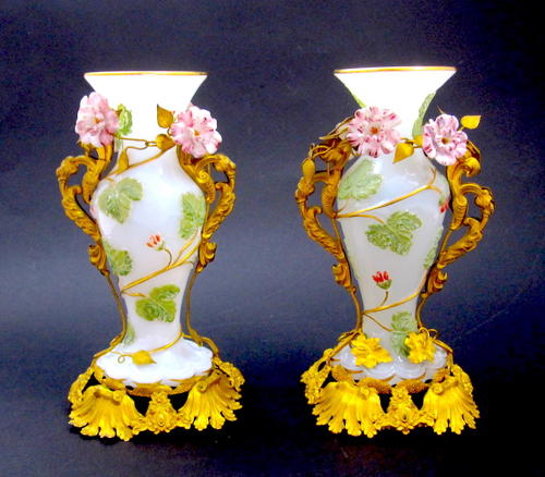 Antique Pair of Stunning Baccarat Opaline Glass Vases