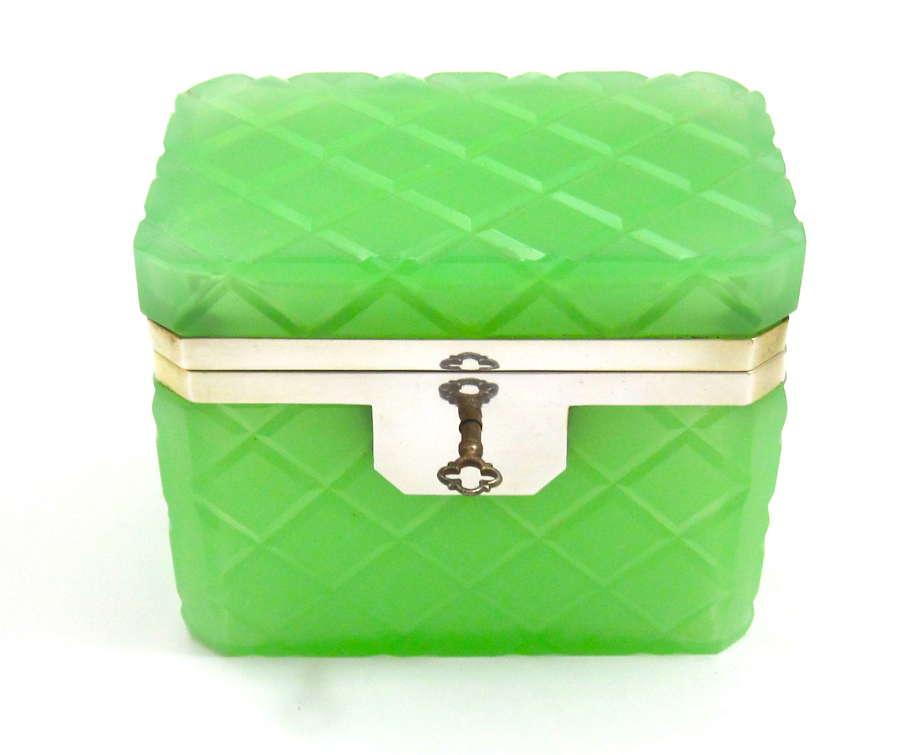 Antique Murano Green Opaline Glass Casket