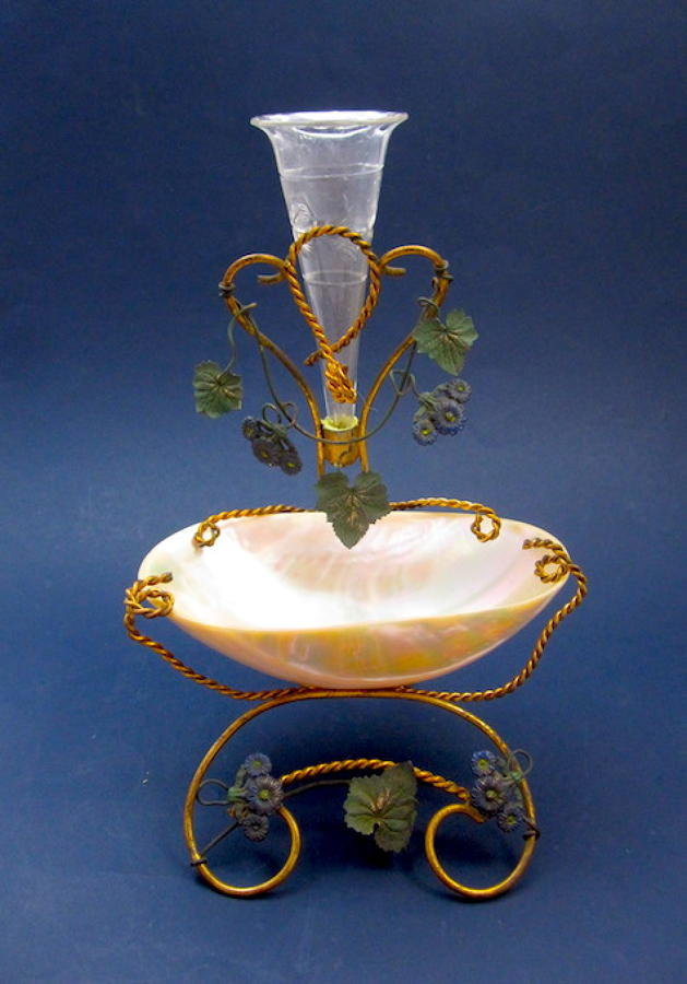Antique Palais Royal Mother of Pearl, Flower, Jewellery & Watch Holder