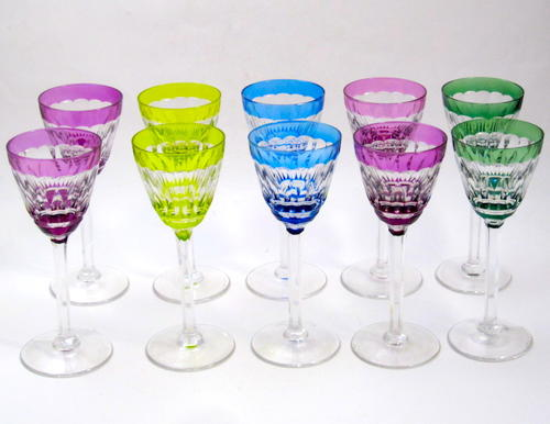 10 Val St Lambert Art Deco Wine Glasses 19cms (7.5