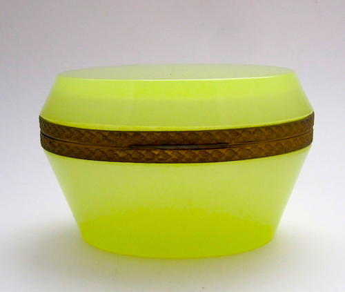 Antique Murano Yellow Opaline Glass Oval Casket Box