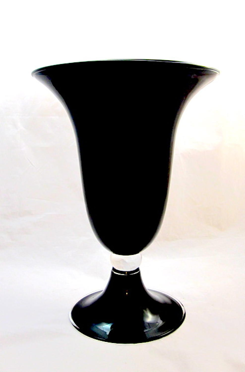 Murano Black Opaline Glass Vase
