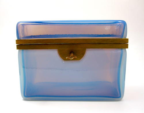 Large RARE Antique French Opaline Glass Casket Box