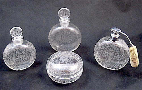 Antique Signed BACCARAT 'Michelangelo Engraved Perfume Set