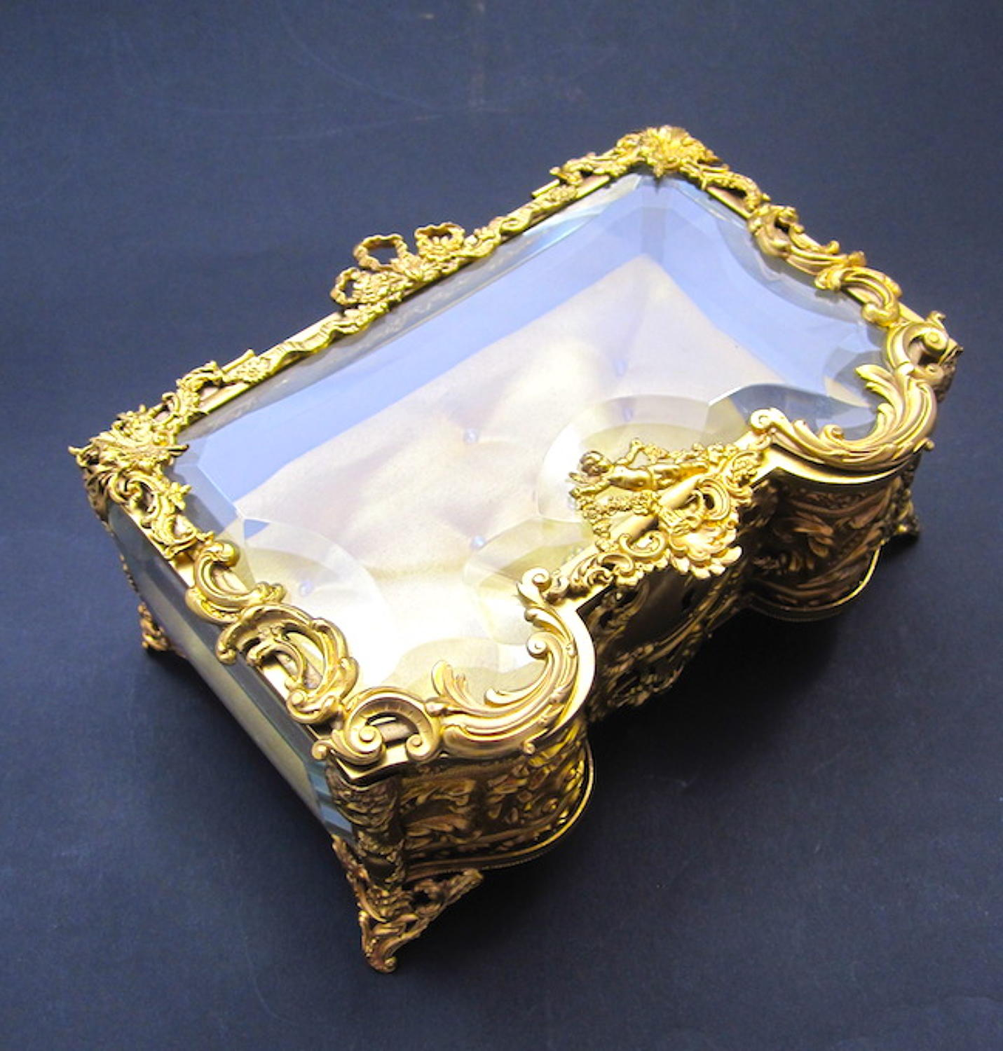 Antique French Rococo Cherub Jewellery Box