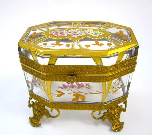 Antique MOSER Art Nouveau Glass Casket with Cherry Blossom Design
