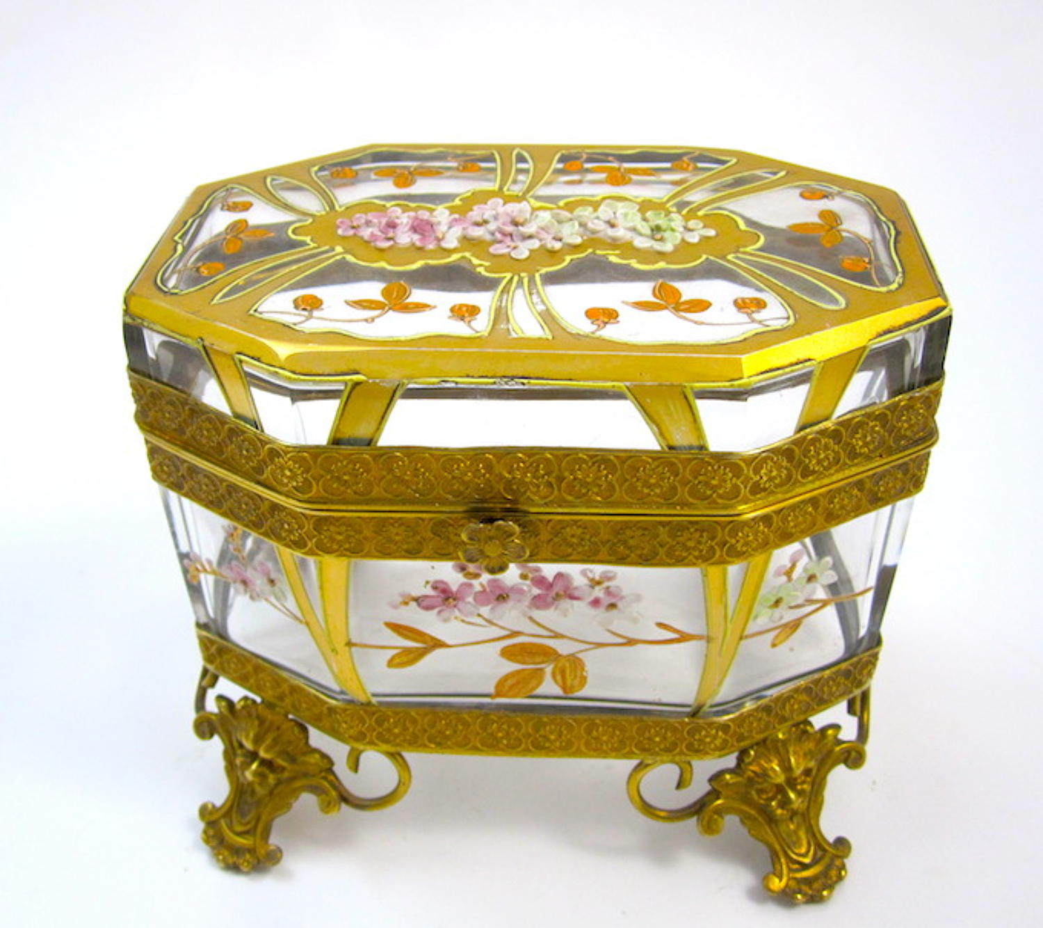 Antique MOSER Art Nouveau Glass Casket with Cherry Blossom Design