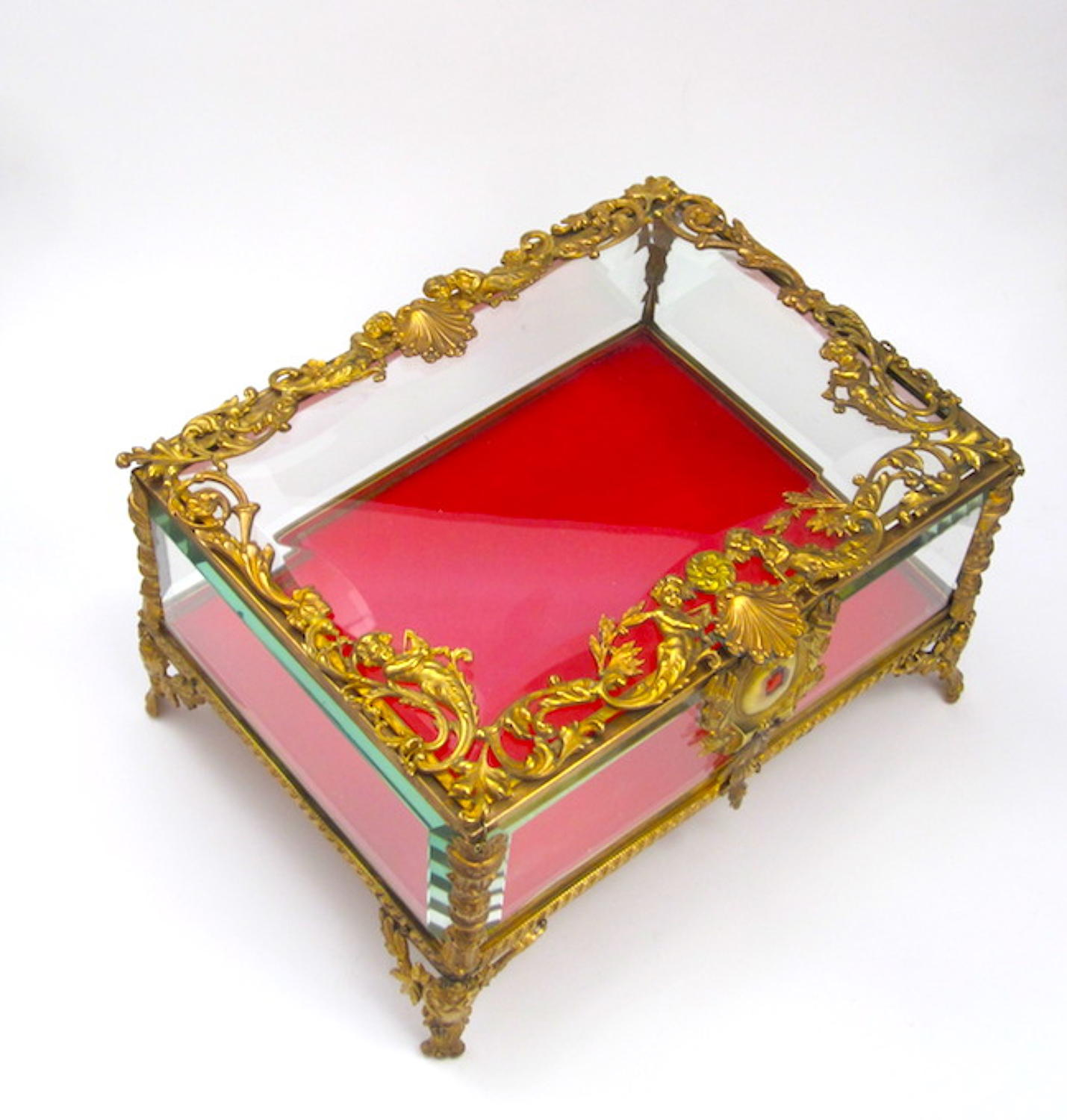 Large Antique Napoleon III Dore Bronze & Crystal Jewellery Casket