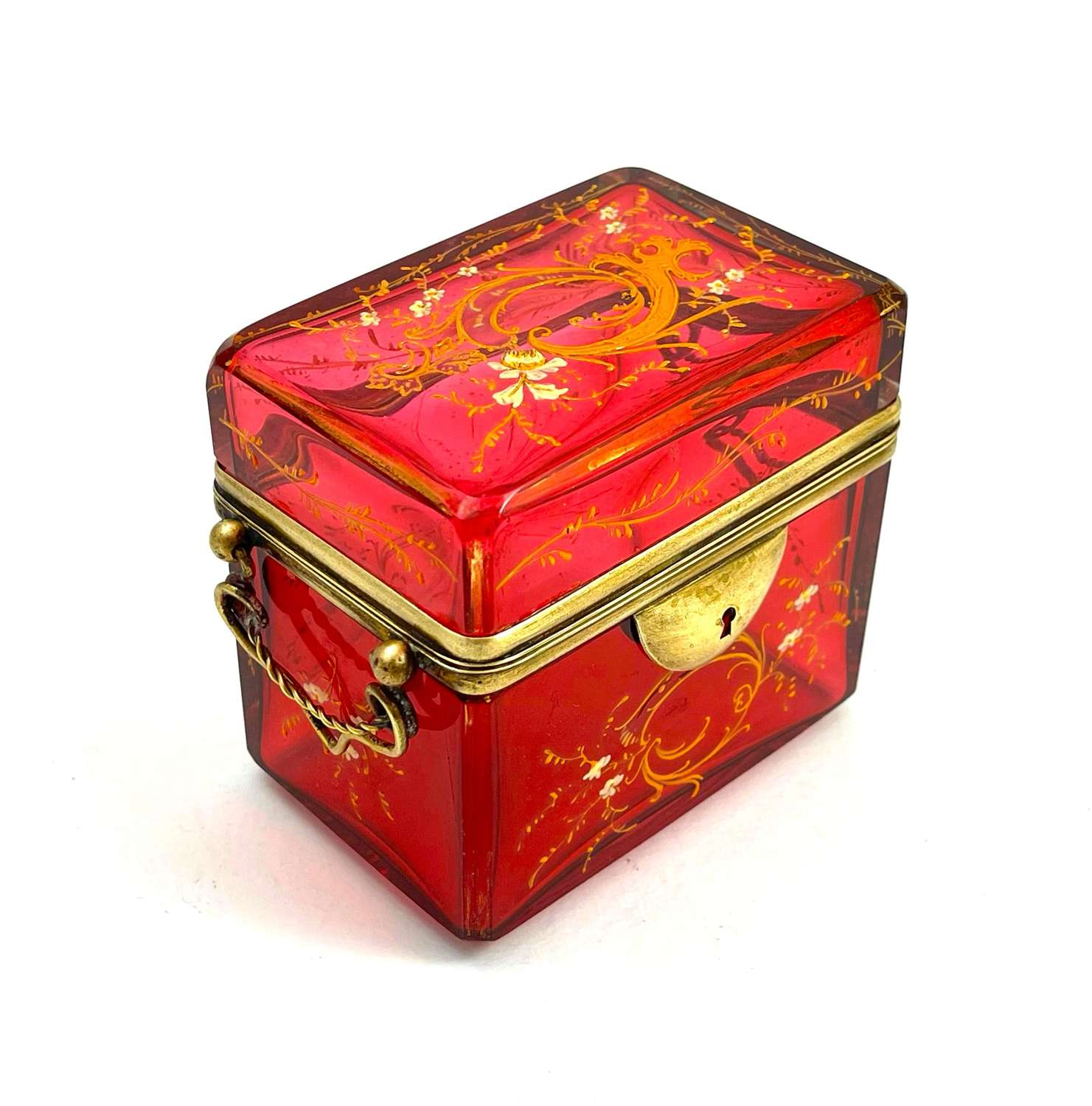 Antique Moser Cranberry Enamelled Glass Casket Box in French