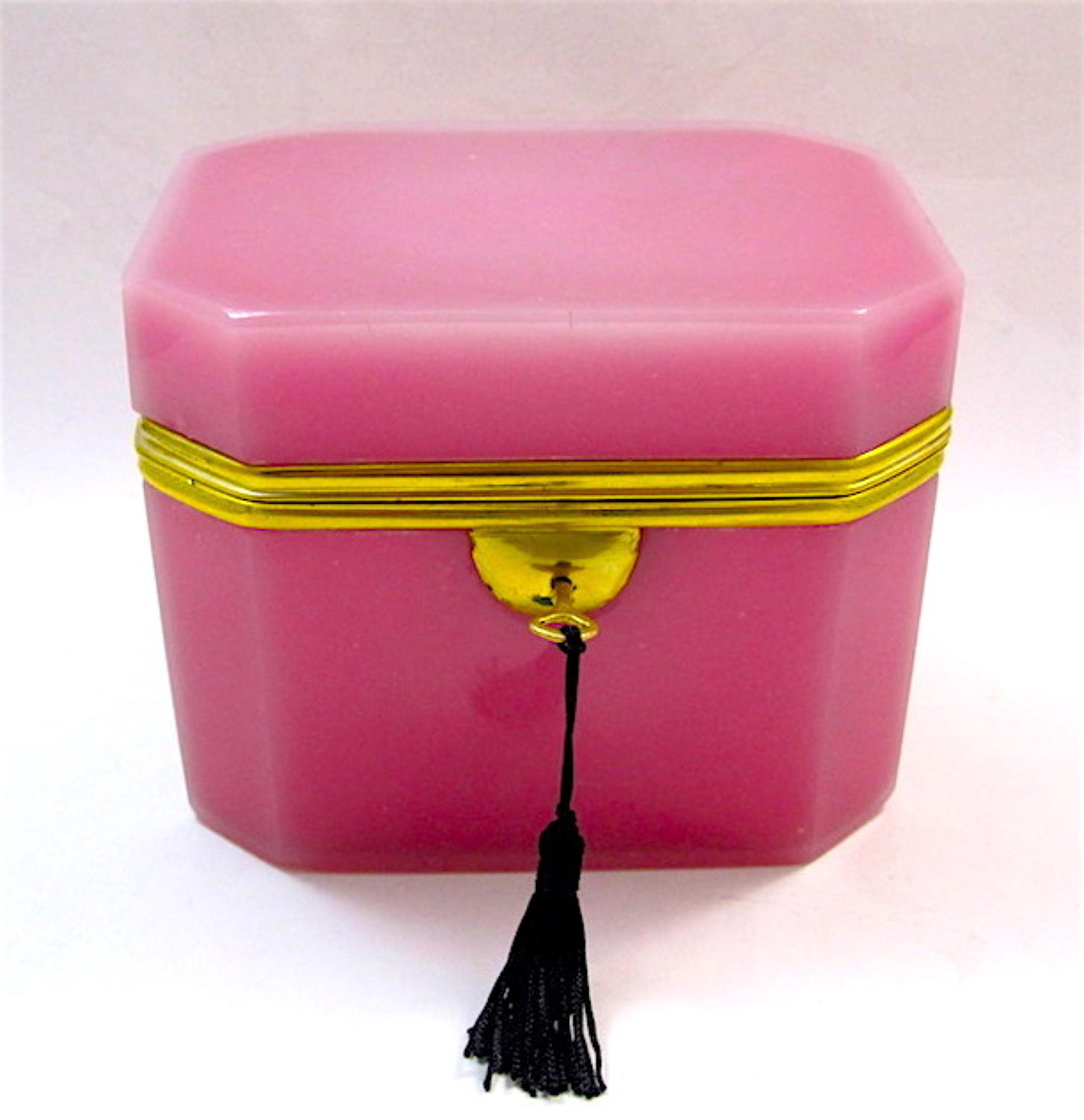 Rare French Pink Opaline Glass Casket Box