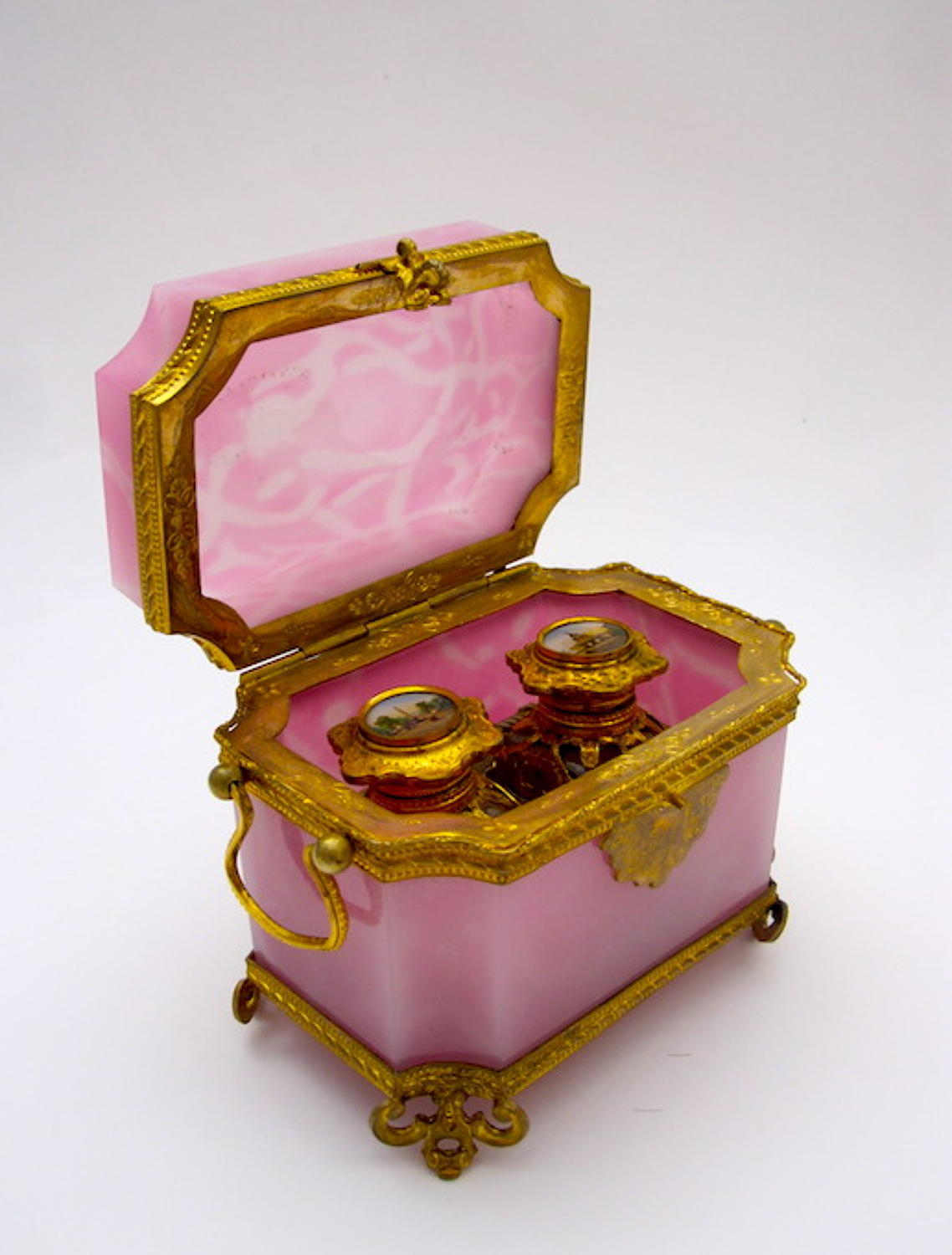 Rare Antique French Pink Opaline Glass Perfume Casket