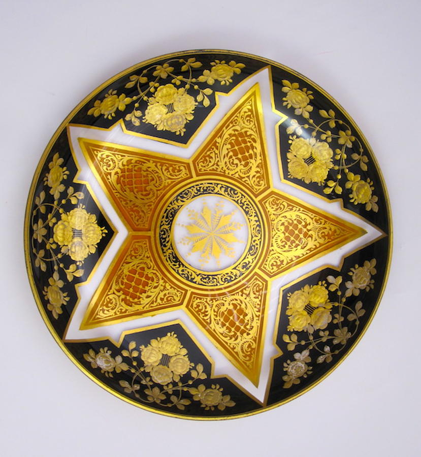 Unusual Antique Moser Enamelled Dish
