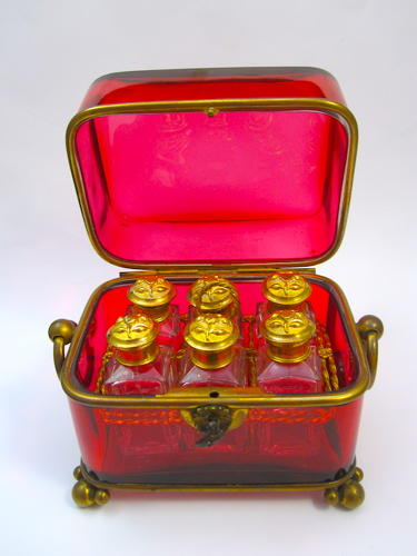 Large Antique BACCARAT Ruby Perfume Casket Box