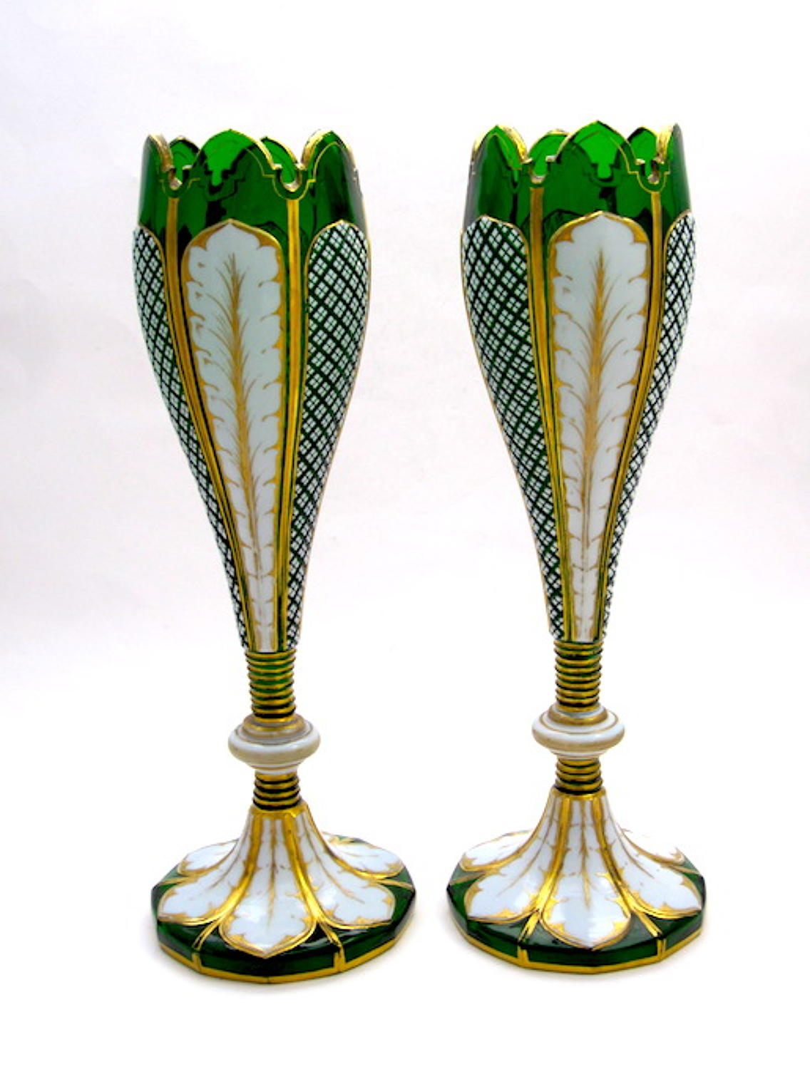 Pair of Antique Bohemian Green Overlay Glass Vases