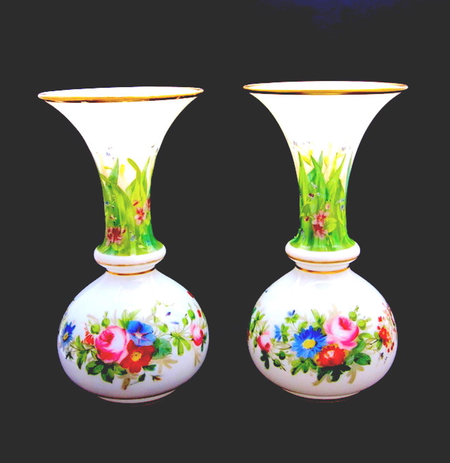 Pair of Antique French Opaline Vases