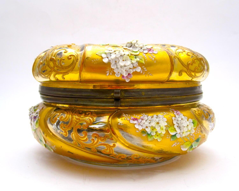 Large Antique Round Moser Casket Box