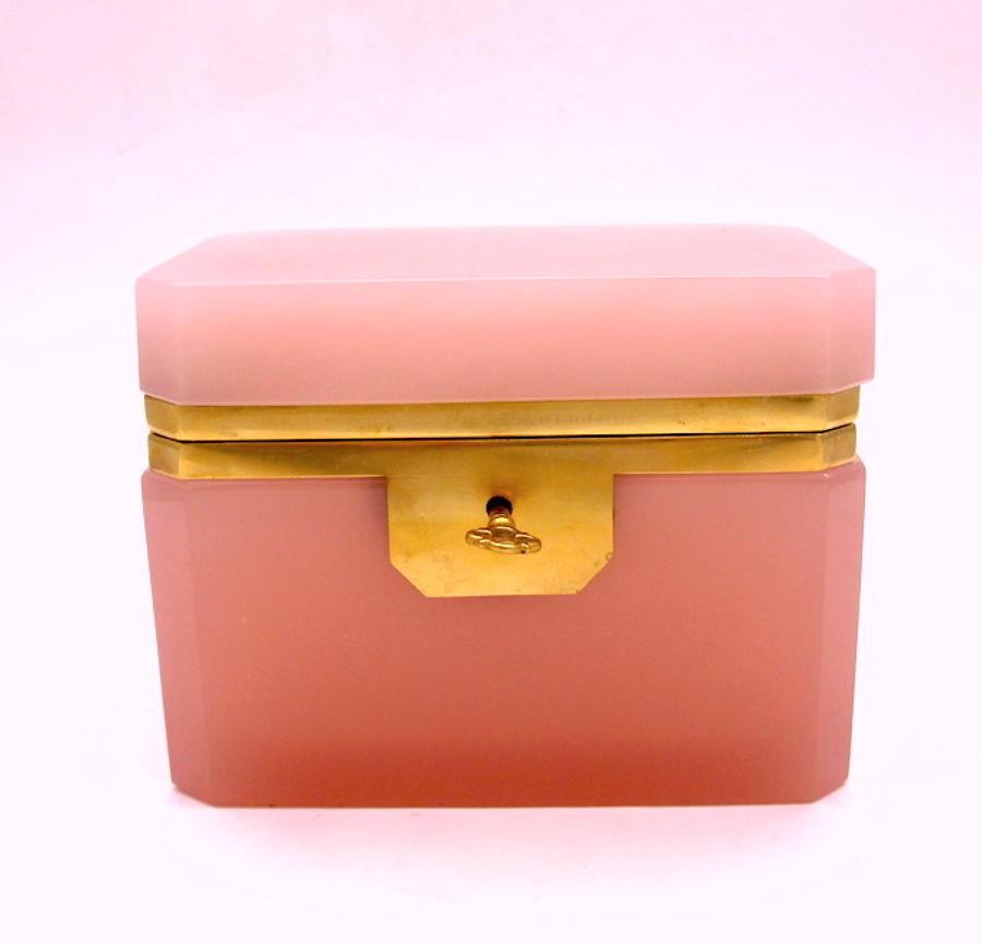 Antique Murano Pink Opaline Glass Casket Box