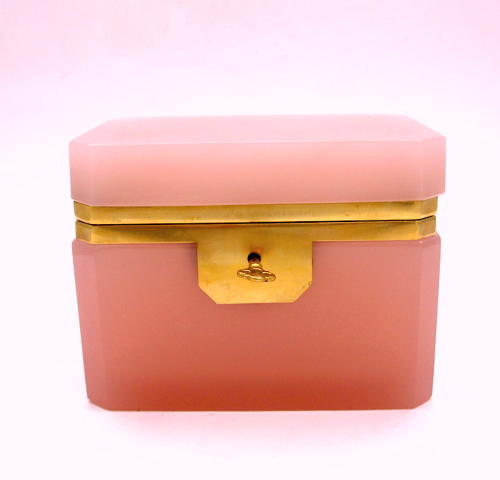 Antique Murano Pink Opaline Glass Casket Box