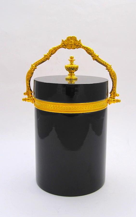 Antique Murano Black Opaline Glass Casket Box