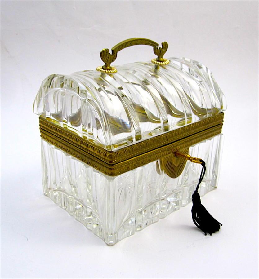 Antique Baccarat Cut Glass Domed Casket Box