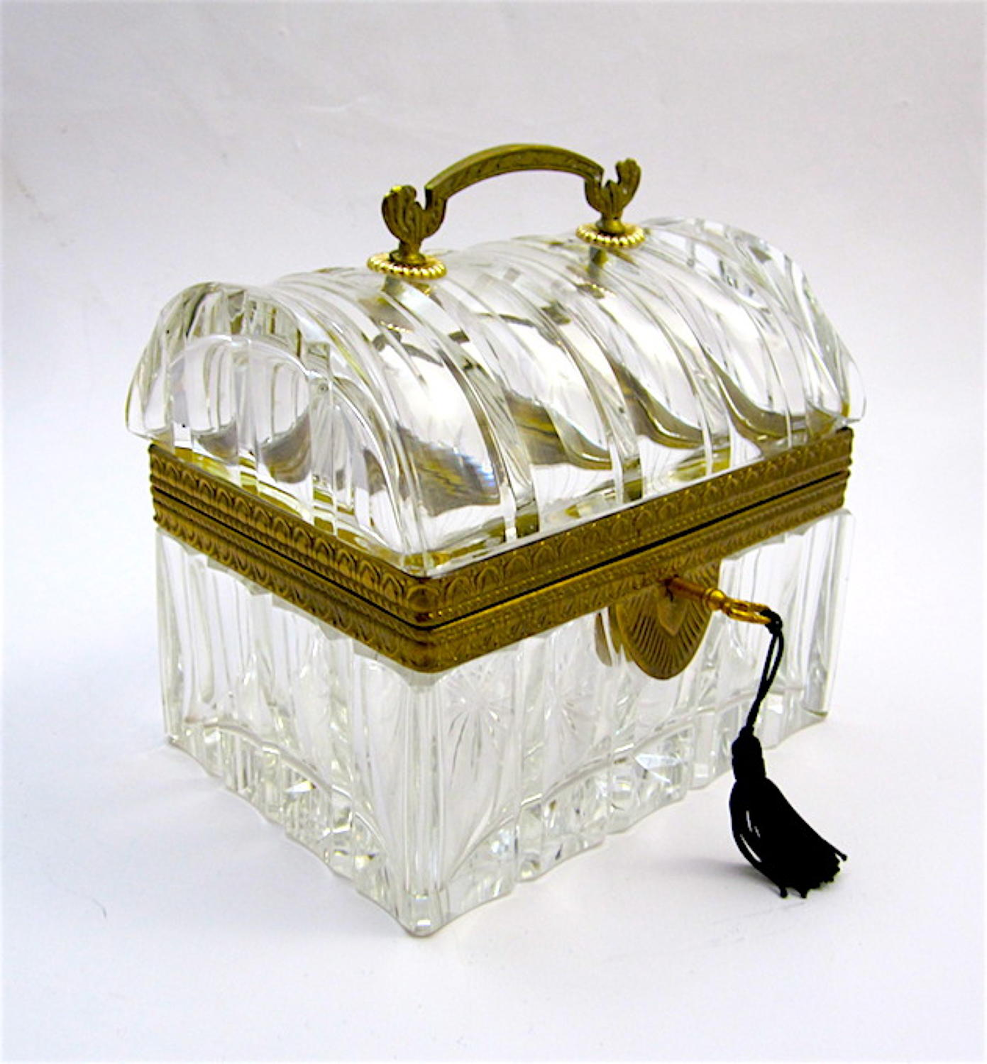 Antique Baccarat Cut Glass Domed Casket Box