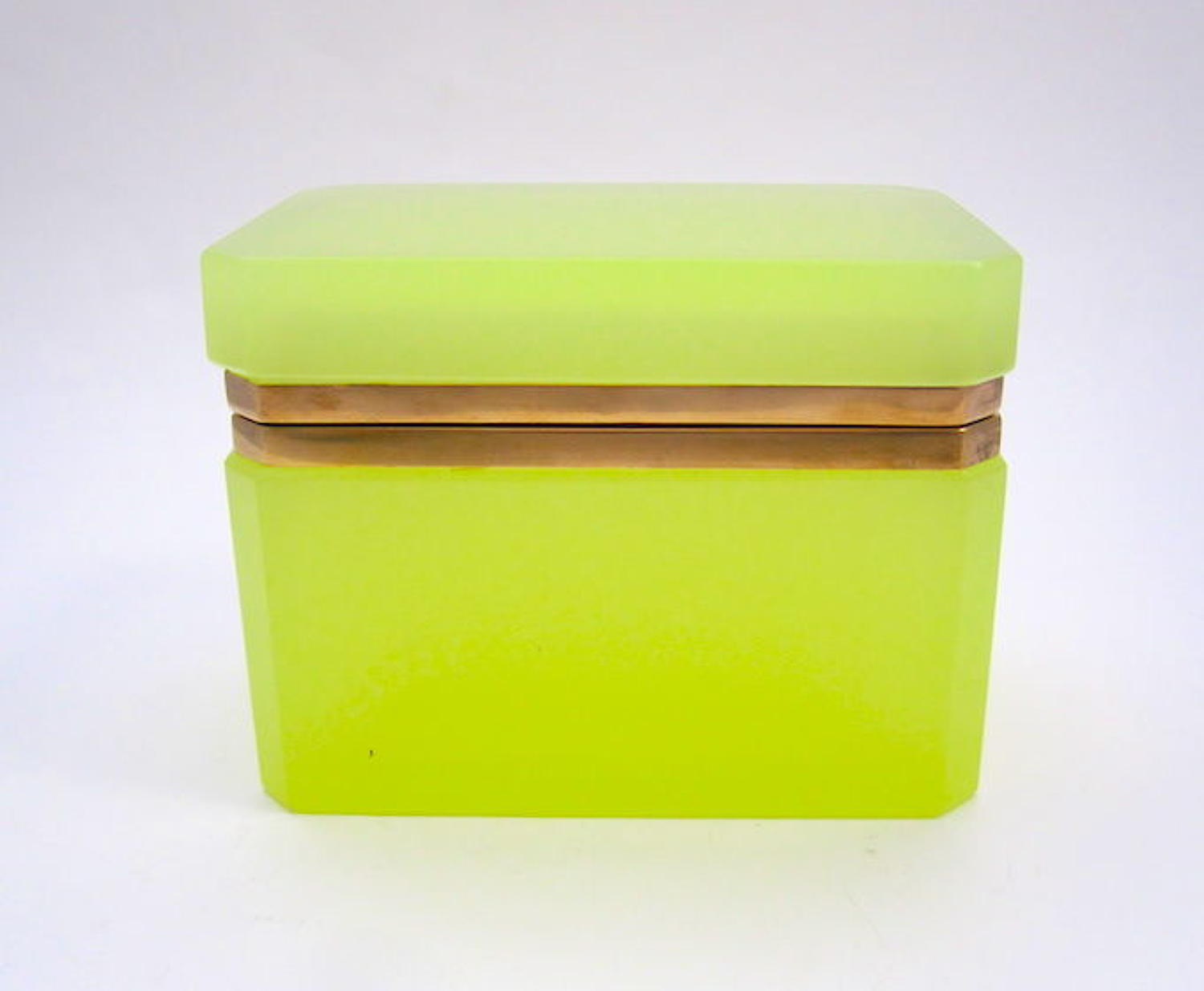 Vintage Italian Murano 'Lemon' Glass Casket Box