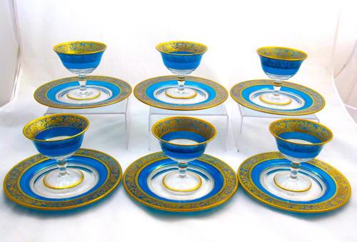 Antique Bohemian MOSER Blue and Gold Enamelled Dessert Set