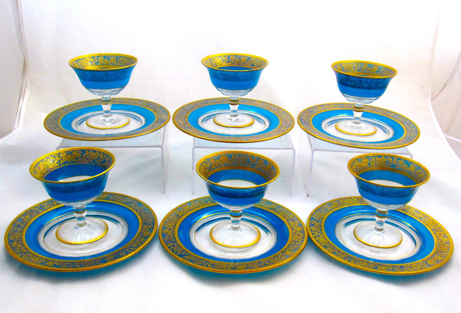 Antique Bohemian MOSER Blue and Gold Enamelled Dessert Set