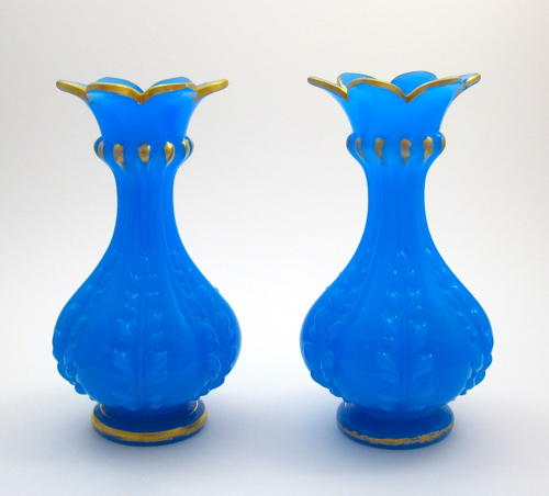 Pair of Antique BACCARAT Blue Opaline Glass Vases