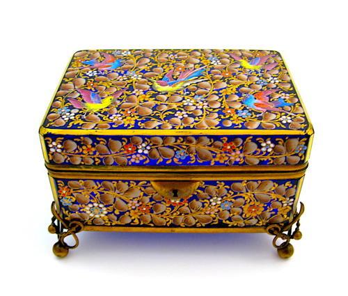 Exceptional Antique Moser Blue Glass Casket Box
