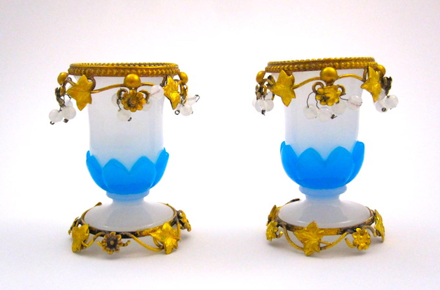 Antique Pair of Palais Royal Opaline Glass Vases