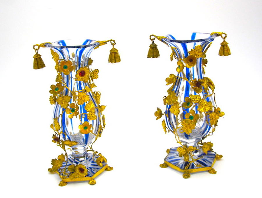 High Quality Antique French Cut Crystal Jewelled Vases