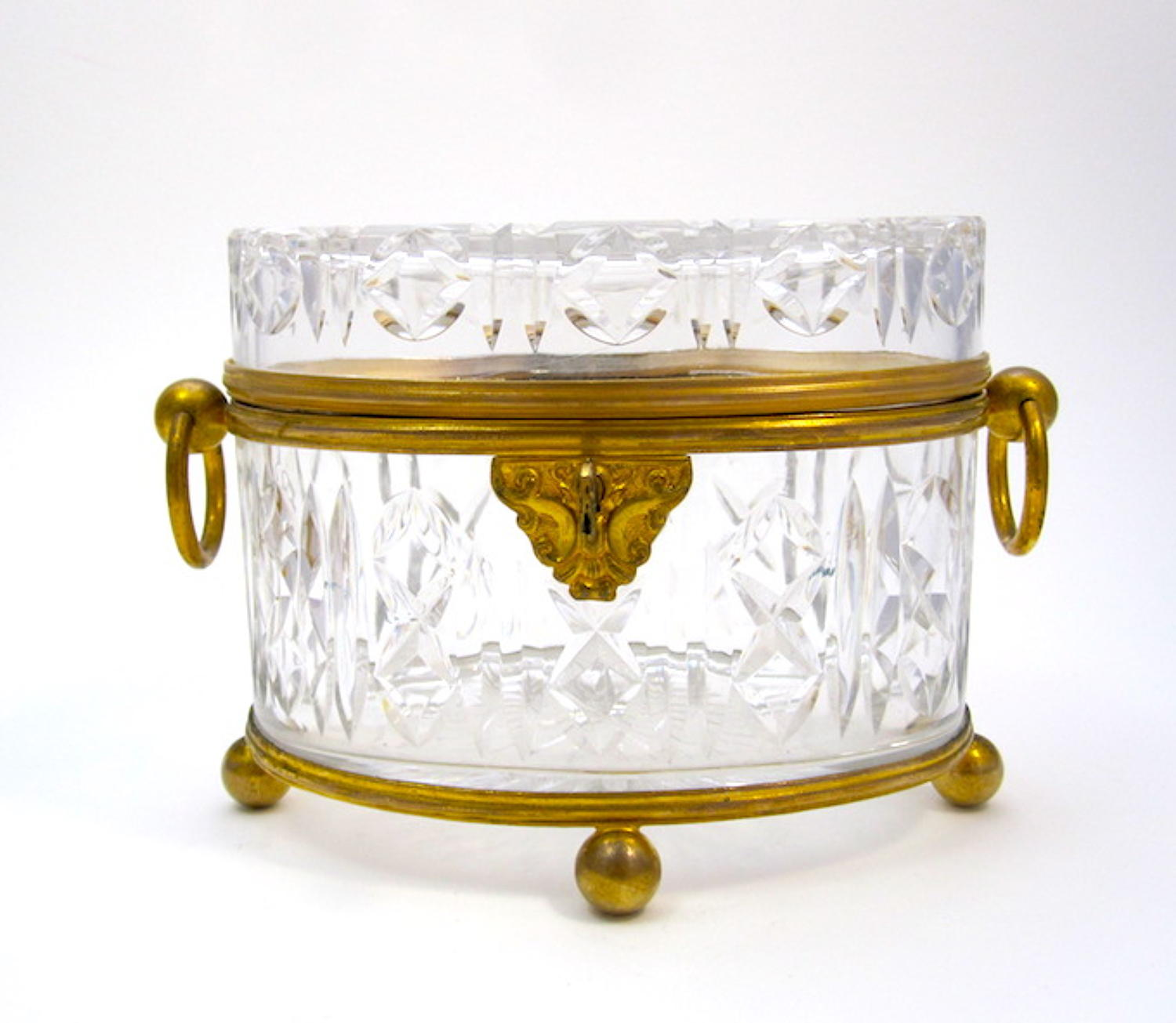 Antique Baccarat Cut Crystal Casket with Dore Bronze Loop Handles.