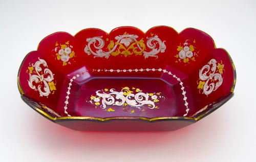 Antique Bohemian Ruby Red Enamelled Bowl