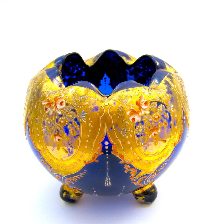 Antique Bohemian MoserBlue Glass Bowl .