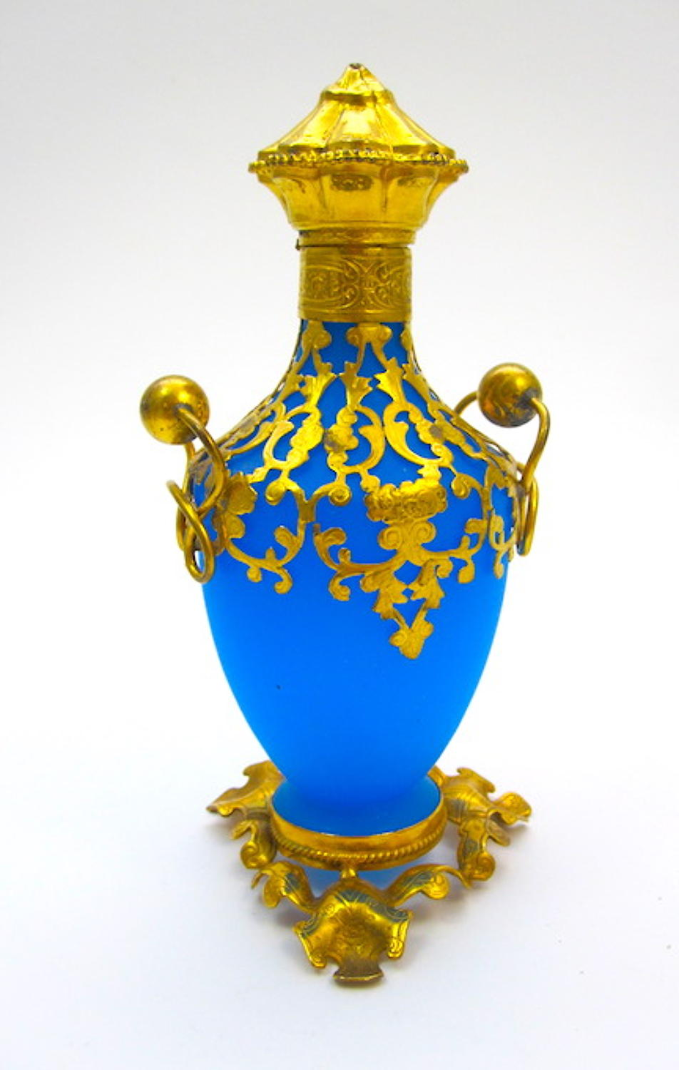 Antique Palais Royal Blue Opaline Glass Perfume Bottle.