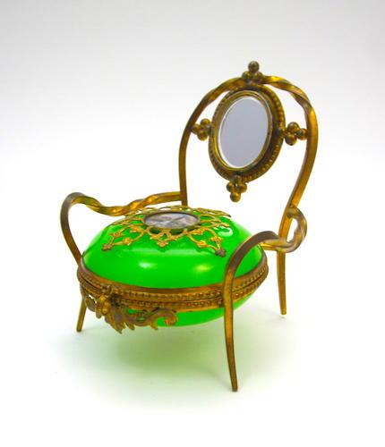 Antique Palais Royal Green Opaline Glass Chair Box