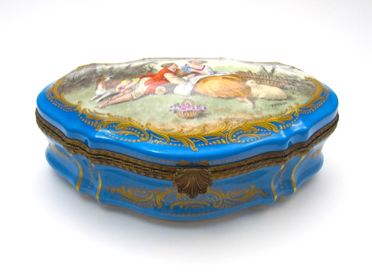 Large Antique Sevres Porcelain Casket Box