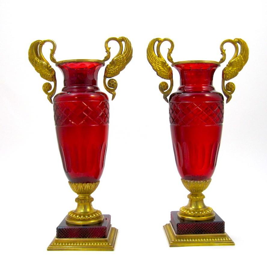 A Pair of Elegant Antique Empire Baccarat Red Glass Vases